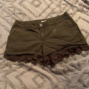 Olive shorts with lace trim